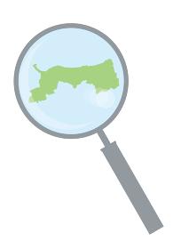 虫眼鏡ルーペ拡大鏡と鳥取県の詳細地図中国地方 都道府県別地図のイラスト ベクターデータ