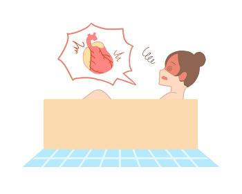 入浴で心臓に負担がかかる 横向き 女性(線無