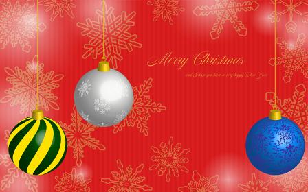クリスマスボールと雪の結晶のクリスマス背景、メッセージ付き