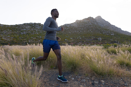 Fit african american man in sportswear running through tall grass. healthy lifestyle, exercising in nature.