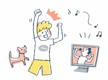 オンラインライブを楽しむ男性