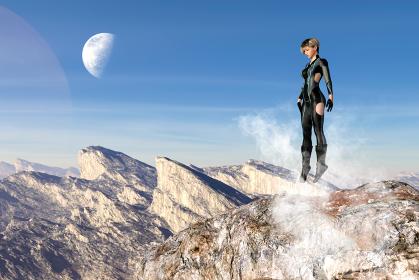 朝日が昇る岩肌の大地に降り立つ黒いボディースーツを着たショートヘアの女性