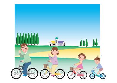 自然豊かな場所をサイクリングする4人家族