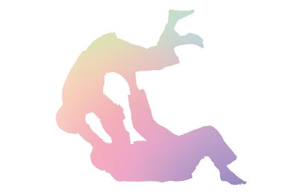 柔道の投げ技、巴投げの瞬間、シルエット素材
