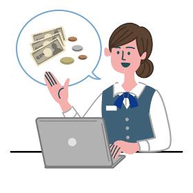 女性 銀行員 OL 事務員 パソコン お金