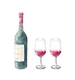 ワインボトルとワイングラス 水彩イラスト