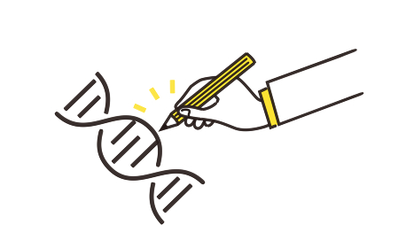 ゲノム編集のイラストイメージ、黄色とグレーの2色、ベクターイラストレーション
