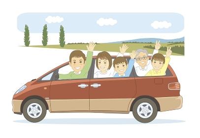 5人家族でドライブ