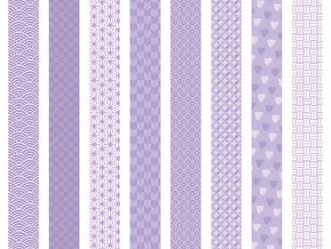 和柄 帯 仕切り シームレス パターン セット 紫 イラスト素材