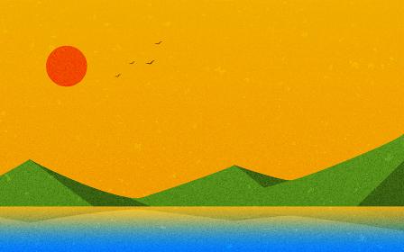 夕陽と鳥と山と湖、自然の風景素材、レトロ風