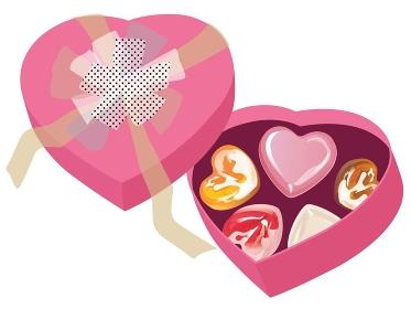 バレンタインデーのチョコとハート型のピンクの箱