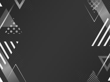 三角形の装飾フレーム・背景素材/黒・白