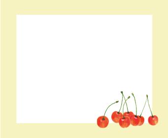 さくらんぼ サクランボ チェリー 黄色 枠 手描き イラスト