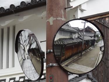 重要伝統的建造物群保存地区今井町の道路のカーブミラー