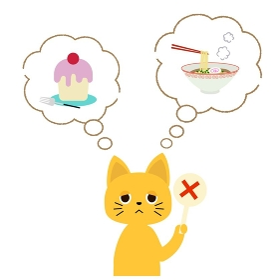 ラーメンやケーキを食べたいけど食べられないネコさん