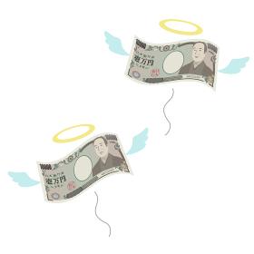 散財してお金が飛んでいくイメージのベクターイラスト(一万円札)