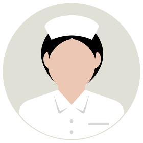 シルエット人物 円形アバターイラスト / ナース・看護婦・看護士・医療従事者
