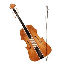 バイオリン ヴァイオリン 楽器 オーケストラ 水彩 イラスト