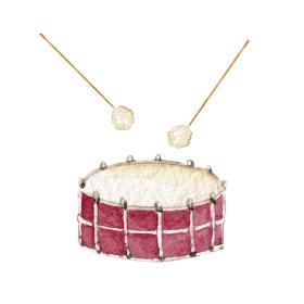 ドラム 太鼓 楽器 オーケストラ 水彩 イラスト