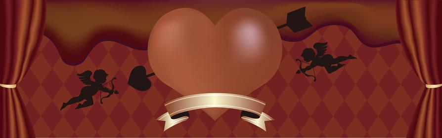 バレンタインデー バナー チョコレート コピースペース 背景 イラスト素材
