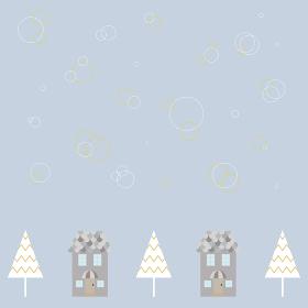 家とクリスマスツリーのイラスト