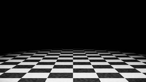 白黒チェッカータイル模様の床 背景 3DCG