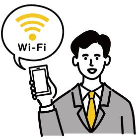 男性 スーツ 会社員 スマートフォン 携帯電話 Wi-Fi