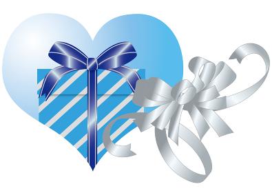 ハートの中のプレゼントボックスとリボン
