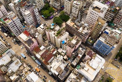 Sham Shui Po, Hong Kong, 28 August 2018:- Top down view of Hong Kong downtown