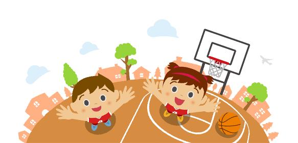 上から見た(俯瞰)子供(男の子・女の子)イラスト/バスケットボール・スポーツ