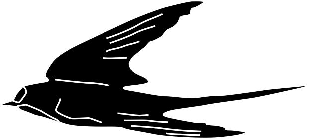 飛行するツバメのシルエット