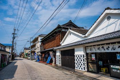 秋の水郷柳川の街並み(福岡県柳川市)