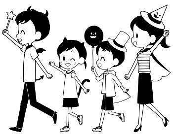 ハロウィンの仮装をする家族