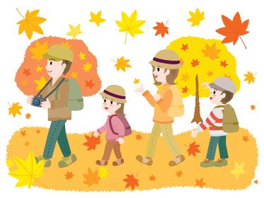 紅葉狩りをする家族のイラスト