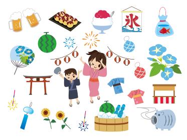 日本の夏祭りイラスト素材セット