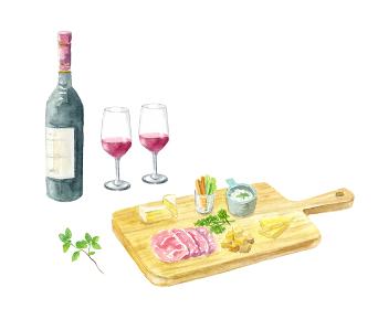 ワインとチーズ盛り合わせの水彩イラスト
