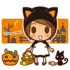 きゃわ系女子スタイル ハロウィンのネコ耳ずきんコスチューム(オレンジ)