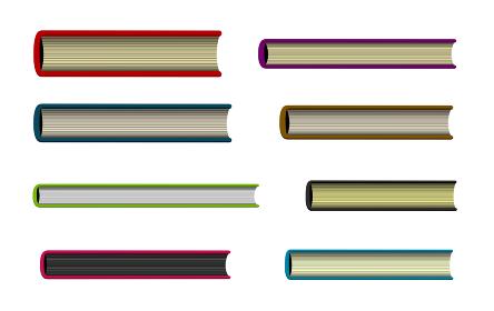 本・書籍 (ハードカバー) 真横/真上/真下から見たイラスト セット