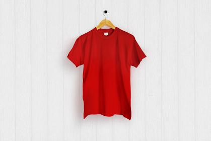 赤色のTシャツ 白バック 5477