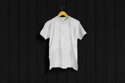 ヘザーグレーのTシャツ 黒バック 5477