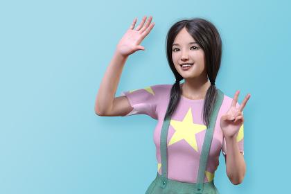 二つくくりの笑顔の日本人女性が片手を挙げながらもう片方でピースサインをしている