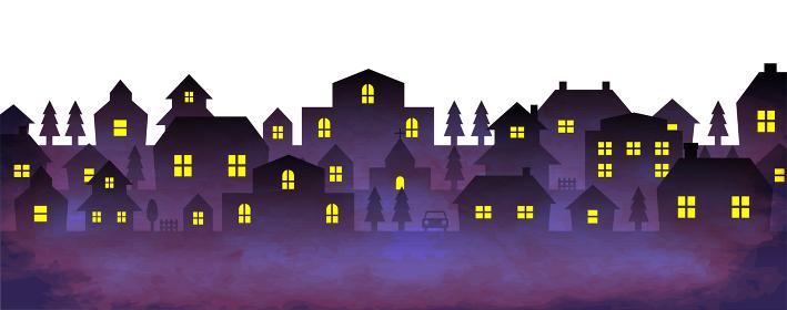 街並み 夜景シルエットイラスト (ビンテージテクスチャ)