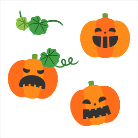ハロウィンかぼちゃオバケセット/線なし