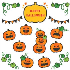ハロウィンかぼちゃオバケセット/線あり
