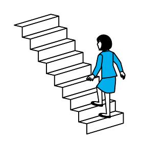 階段を上る女性 斜め後ろ