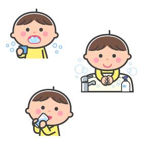 感染症予防/うがい、手洗い、水分補給をする男の子/線あり