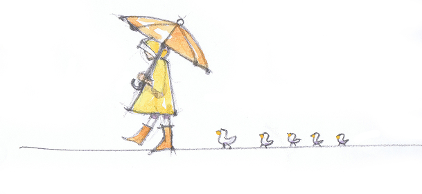 黄色いレインコートの女の子と鳥のラフスケッチ