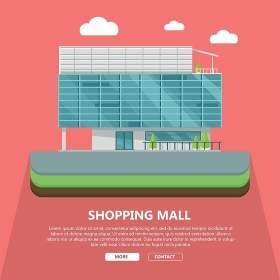 Shopping Mall Web Template in Flat Design. Shopping mall web page template with text more and contact. Flat design. Commercial building concept illustration for web design, banners. Shop, shopping center, mall, supermarket, business center
