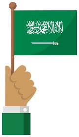 手持ち国旗イラスト ( 愛国心・イベント・お祝い・デモ ) / サウジアラビア