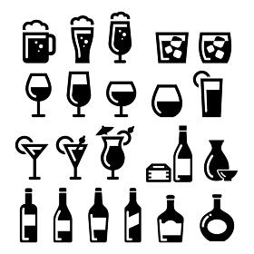 お酒アイコンイラストセット ビール、ワイン、カクテル、日本酒、ブランデー、ウィスキー